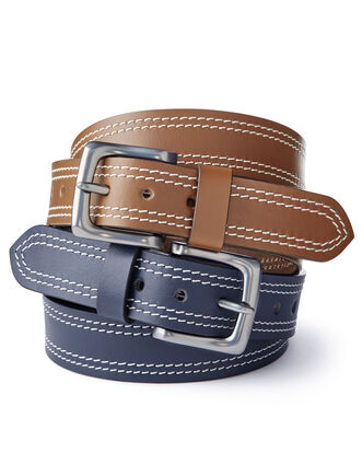 Men's Twin Stitch Leather Belt