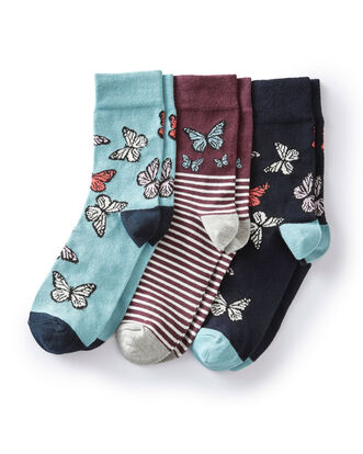Pack Fo 3 Comfort Top Butterfly Socks