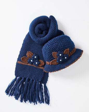 Knitted Flower Hat and Scarf Set