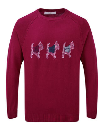 Light Berry Cotton Crew Neck Westie Dog Jumper