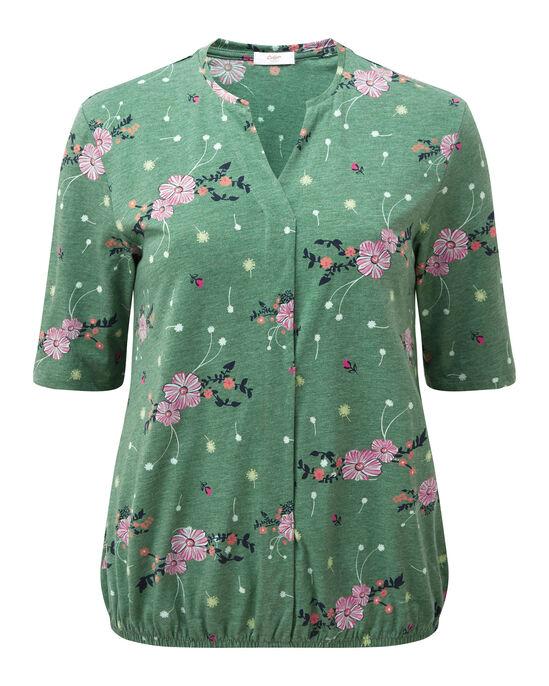 Floral Print Elasticated Hem Jersey Blouse