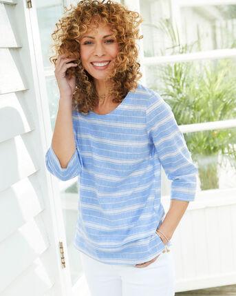 Cotton Linen-Blend Stripe Top