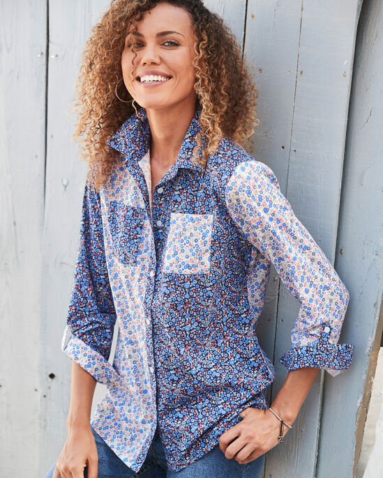 Long Sleeve Mix and Match Print Shirt