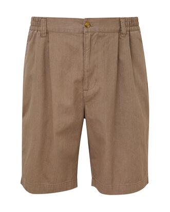 Rich Beige Pleat Front Comfort Shorts