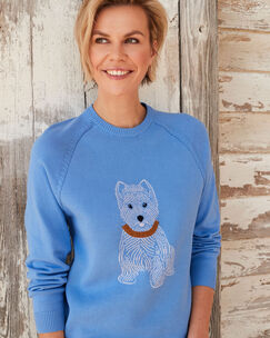Light Blueberry Cotton Crew Neck Dog Jumper