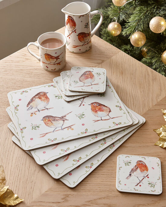 Winter Robin Pack of 4 Placemats and Coasters Set
