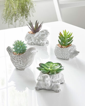 Set of 4 Artifical Animal Planters