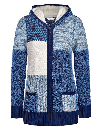 Tactile Hooded Knitted Zip Cardigan