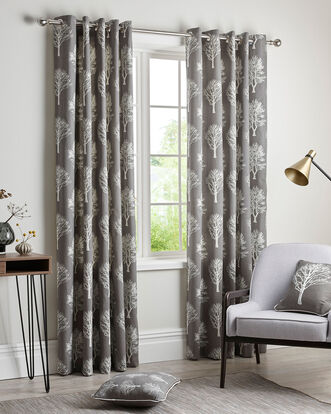 Woodland Eyelet Curtains 66X72""