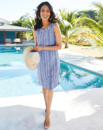 Linen Blend Stripe Dress