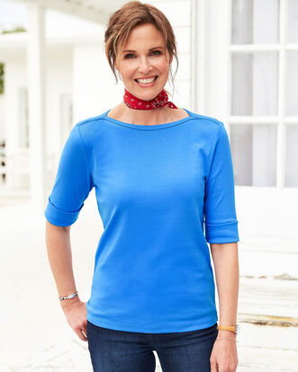 Wrinkle Free 1/2 Sleeve Boat Neck Top