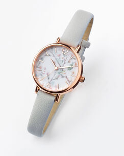 Round Face Floral Dial Watch