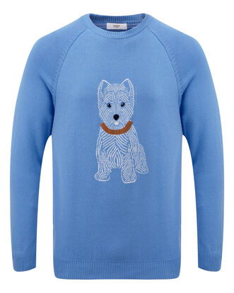 Light Blueberry Cotton Crew Neck Westie Dog Jumper