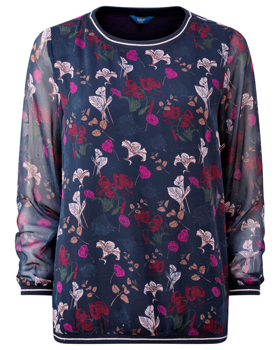 Jersey Lined Floral Top