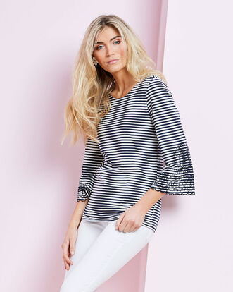 Embroidered Flared Sleeve Top