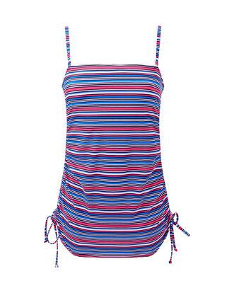 Stripe Long Printed Tankini Top
