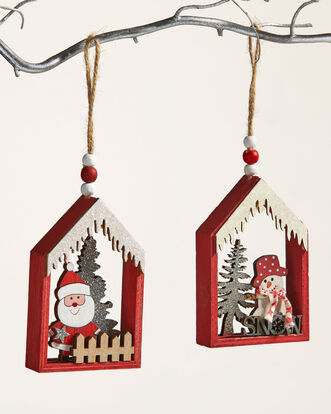 Pack of 2 Christmas Scene Hanging Decorations