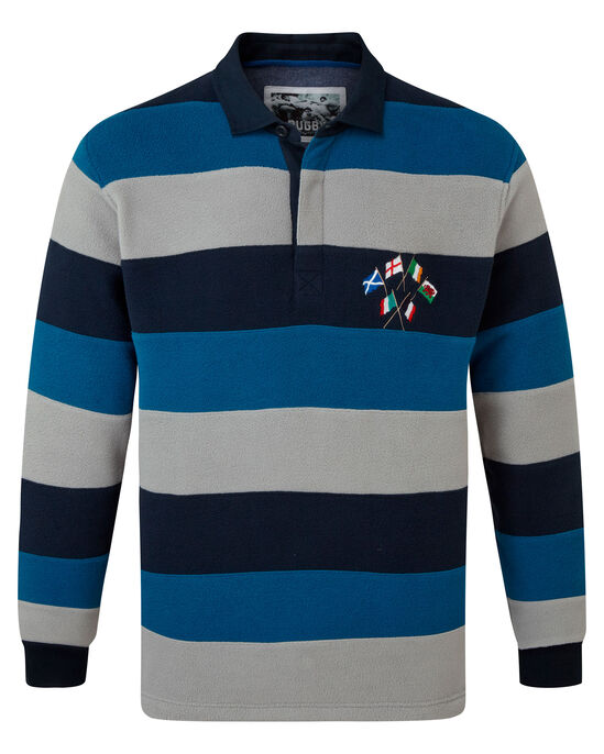 Six Nations Long Sleeve Fleece Stripe Rugby Shirt