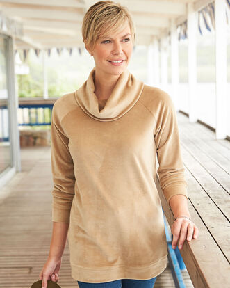 Velour Cowl Neck Tunic