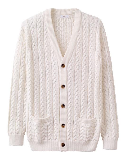 Cotton Cable Knit Button-through Cardigan