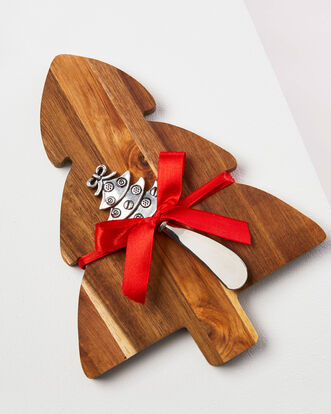Christmas Tree Cheese Board and Knife Set