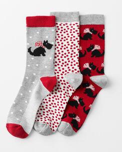 3 Pack Patterned Dog Socks