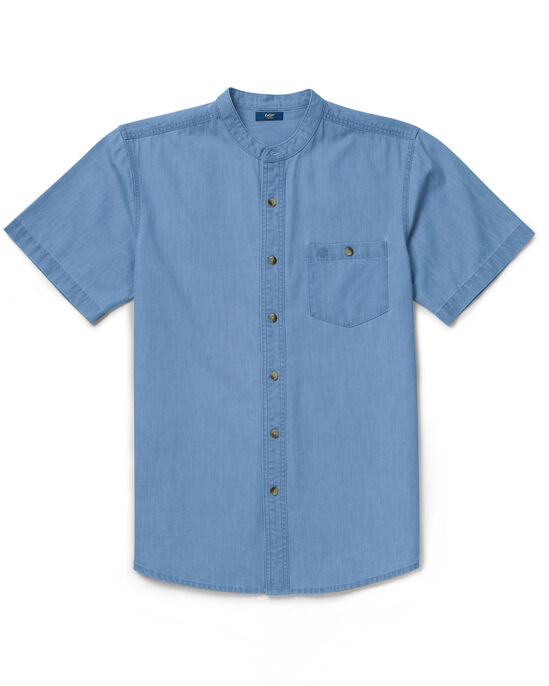Short Sleeve Denim Grandad Shirt