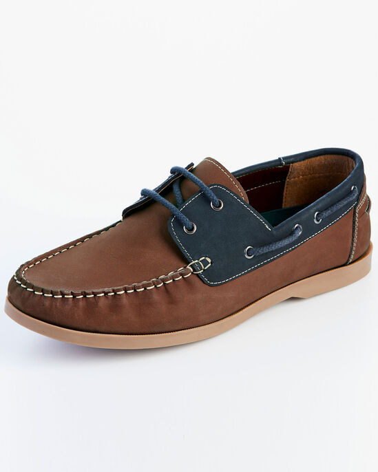 Leather Mix Lace-up Boat Shoes