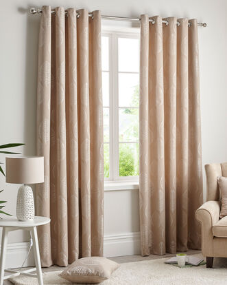 "Leaf Jacquard Eyelet Curtains 66X72"""