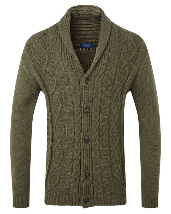 Shawl Neck Cable Cardigan