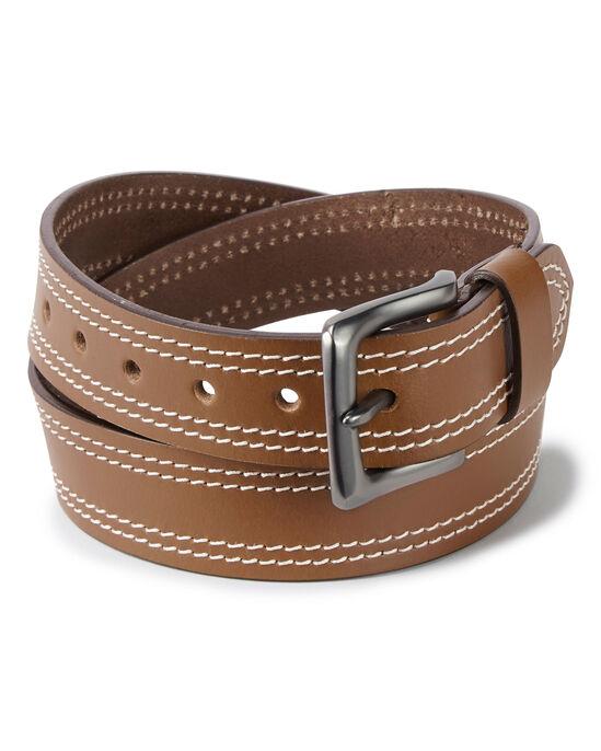 Men's Twin Stitch Leather Belt