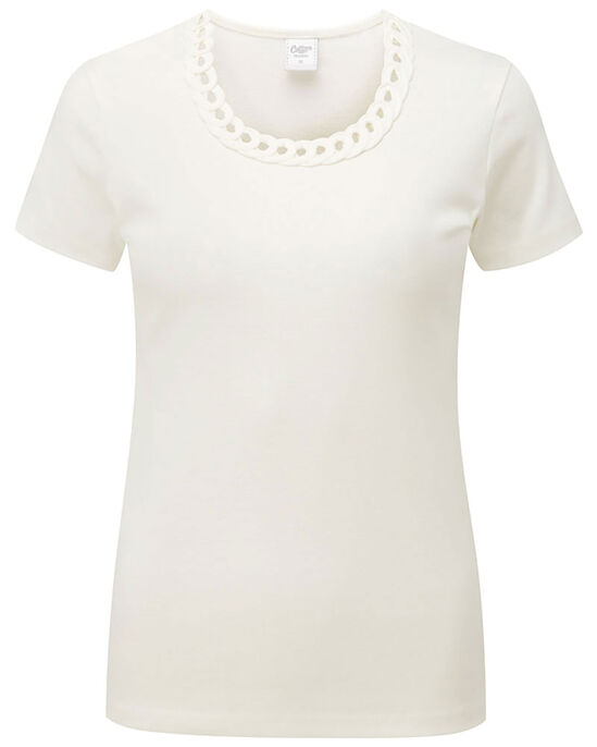 Loop Neck Trim Short Sleeve Top