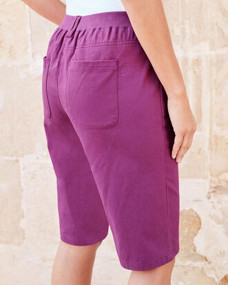 Deep Magenta Wrinkle Free Pull-on Shorts