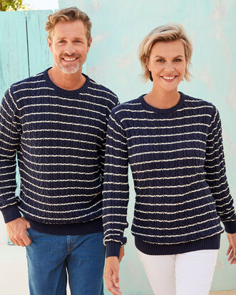 Cotton Cable Stripe Crew Neck Jumper