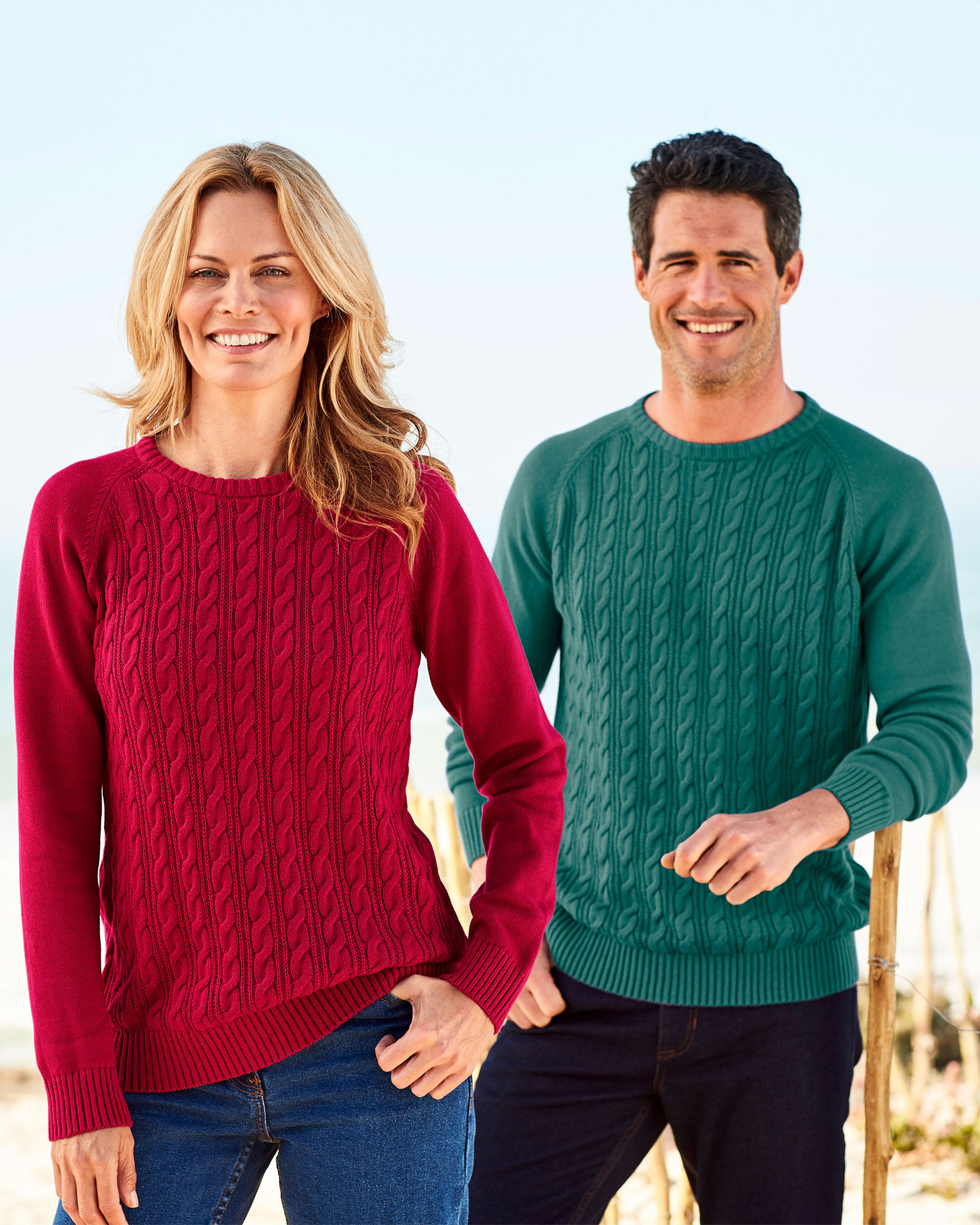 Knits by Hampshire Womens Cable Crew-Neck Pullover Sweater