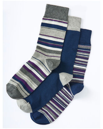 3pk Comfort Top Stripe Socks