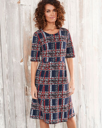 Textured Check Midi Dress
