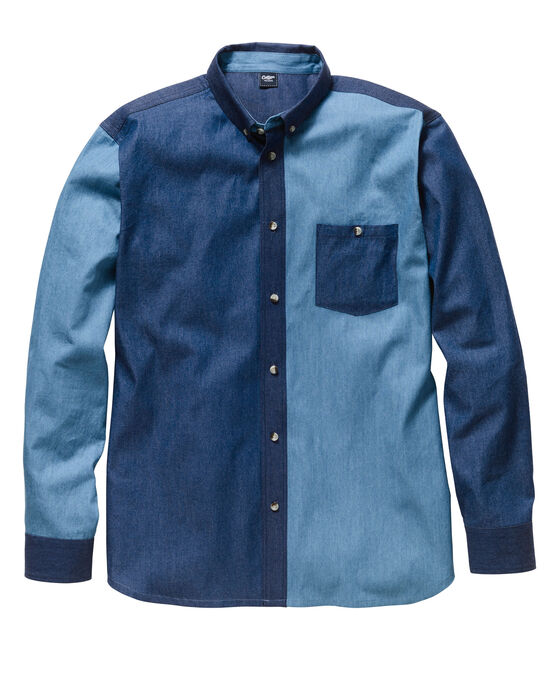Long Sleeve Panelled Denim Shirt