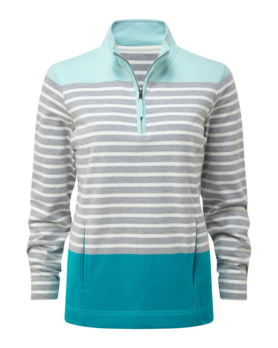 Zip Neck Stripe Sweatshirt