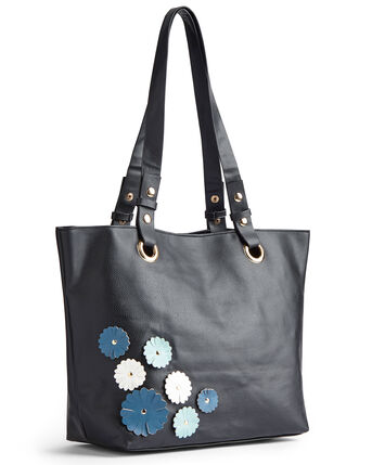 Flower Applique Tote Bag