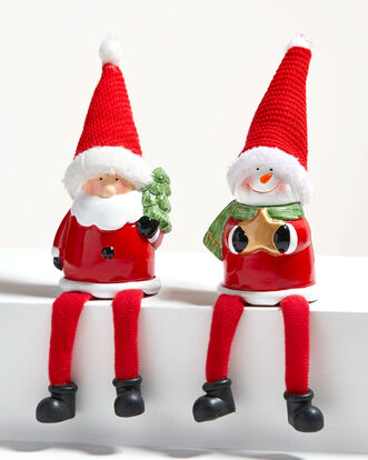 Pack of 2 Santa and Snowman Shelf Sitters