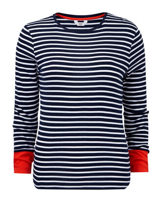 Wrinkle Free Stripe Crew Neck Top
