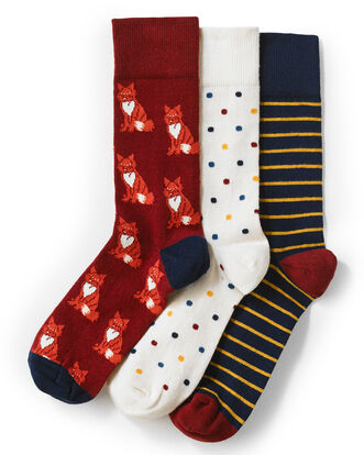 3 Pack Patterned Socks
