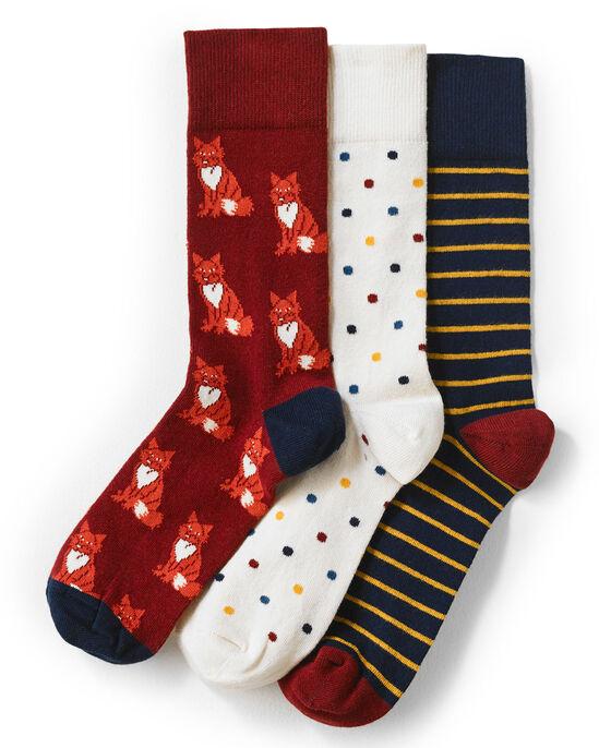3 Pack Patterned Socks