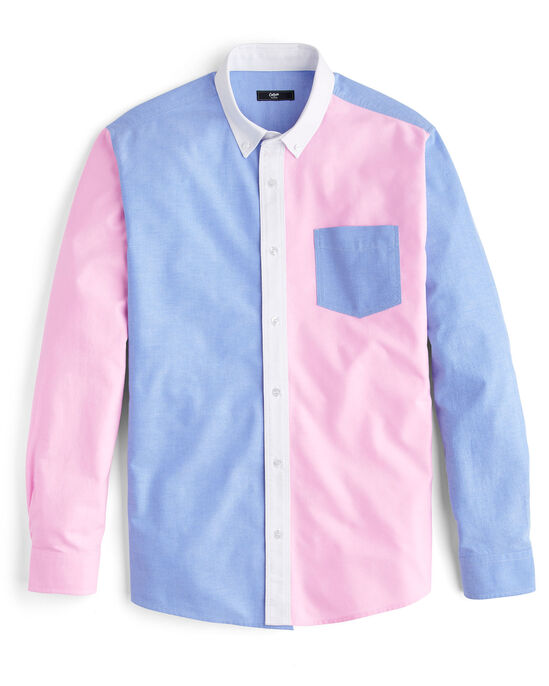 Long Sleeve Panelled Oxford Shirt