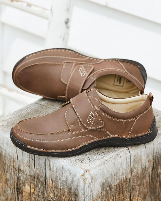 Leather Cushion Sole Adjustable Shoes At Cotton Traders