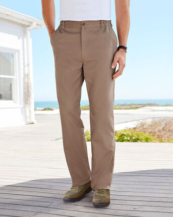 Elasticated Waist Flat Front Travel Trousers
