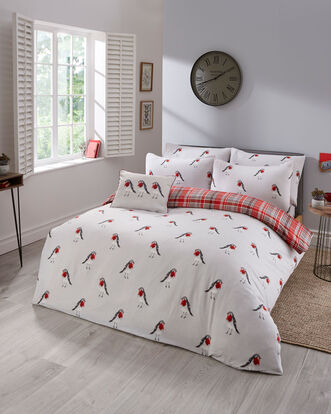 Red Robin Brushed Cotton Duvet Set