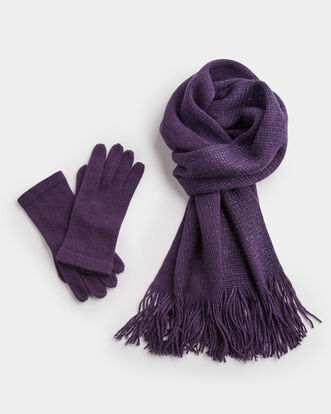 Ladies Lurex Scarf and Glove Set