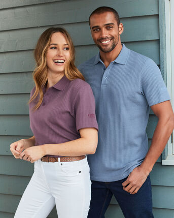 Organic Cotton Seersucker Polo Shirt